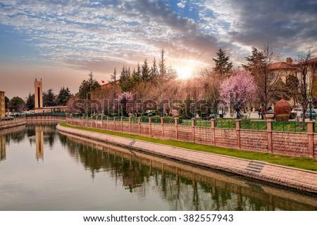 Porsuk River of Eskisehir. - stock photo