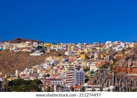 Port and town San Sebastian - La Gomera Island - Canary Spain - stock photo