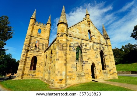 Port Arthur Historic Site best known for the well-preserved penal colony buildings. It was established in 1830 as a timber station and soon afterwards became a small town that housed convicts.  - stock photo