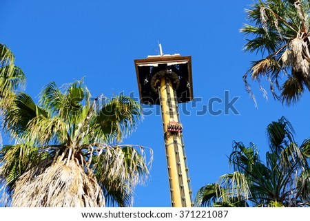 PORT AVENTURA, SPAIN - MAY 26: The Hurakan Condor Ride in Port Aventura theme park in May 26, 2015 in Salou, Spain. Up to 60 mln tourists is expected to visit Spain in year 2015. - stock photo