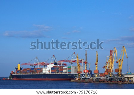 port cranes and ship - stock photo