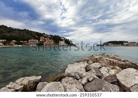 Port de Soller is a village and the port of the town of Soller, in Mallorca, in the Balearic Islands - Spain - stock photo