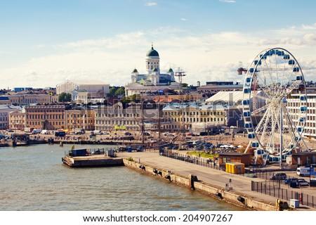 Port in Helsinki city, Finland - stock photo