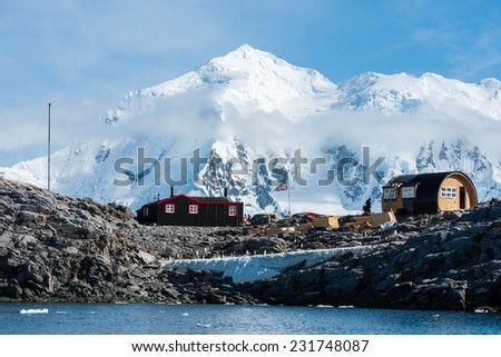 Port Lockroy, a research station on north-west shore of Wiencke Island in Palmer Archipelago in Antarctica - stock photo