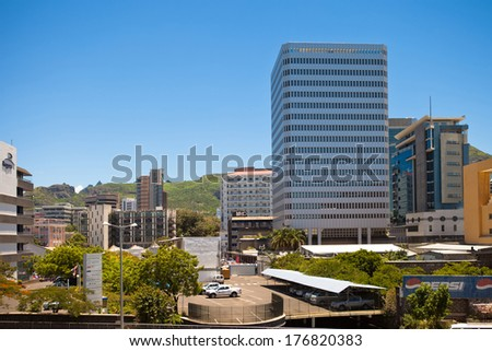 PORT LOUIS, MAURITIUS-DECEMBER 29: Port Louis cityscape on December 29, 2013 in Port Louis, Mauritius. The city is the country's economic, cultural, political center and most populous city. - stock photo