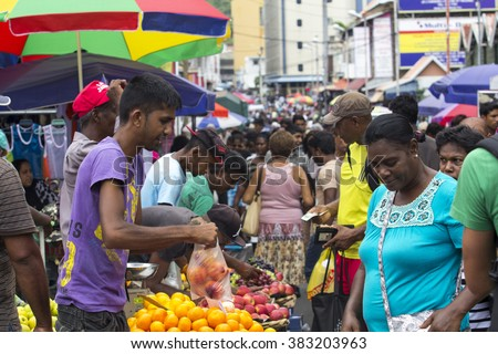 PORT LOUIS, MAURITIUS - February 3, 2016: View to the shopping area in downtown Port Louis, Mauritius. - stock photo