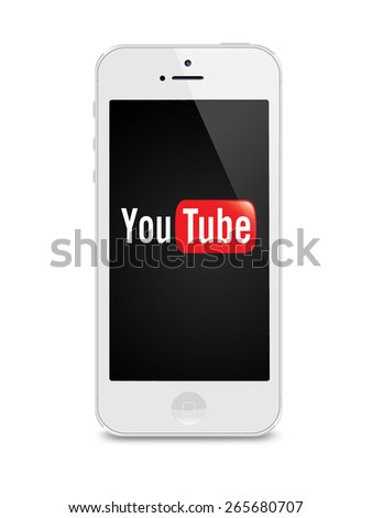 Port-Louis, Mauritius - March 25 2015 Iphone 5s with Youtube logo on the screen on white background, Youtube is a video sharing website - stock photo