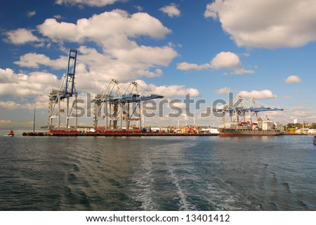 Port of Auckland, container yard - stock photo