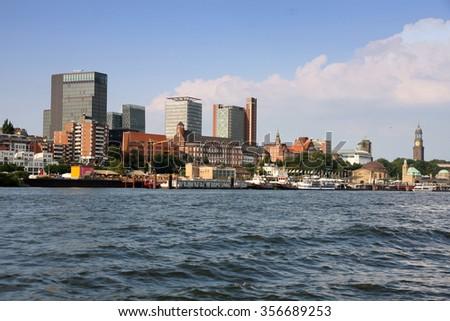 Port of Hamburger with harbor, Hamburg, Germany - stock photo