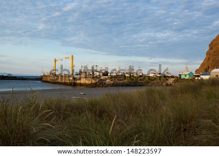 Port of Port Orford in Oregon. The only dolly dock on the Pacific Coast of the United States where the boats are launched and lifted with a crane. - stock photo