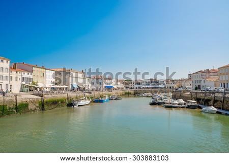 Port of Saint Martin de Re at the Isle of Re (Ile de Re) - stock photo