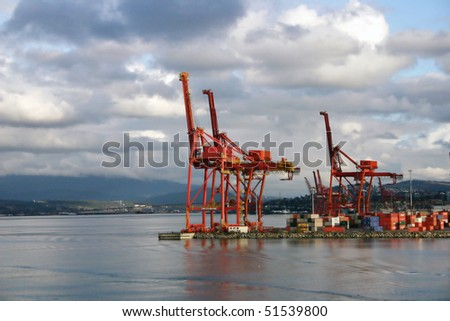 Port of Vancouver. Container terminal. - stock photo