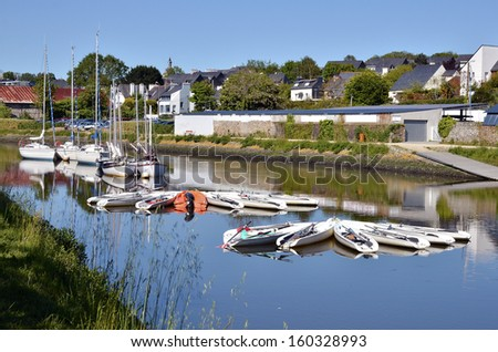 Port of Vannes, commune in the Morbihan department in Brittany in north-western France - stock photo
