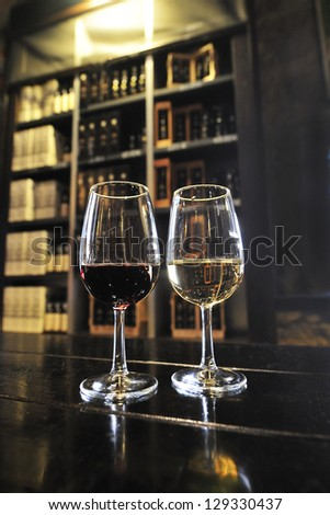 port wines, white and red wine in the famous portuguese wineries - stock photo