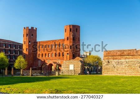 Porta Palatina, a Roman gate in Turin - Italy - stock photo