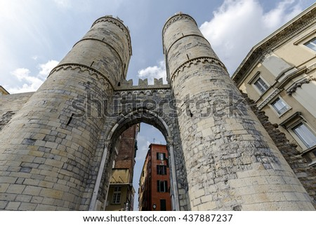 Porta Soprana, a two tower medieval city gate of Genoa's old town, Italy - stock photo