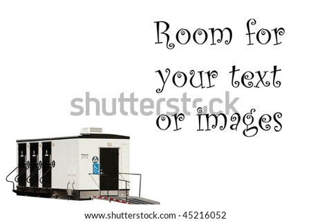 portable bathrooms isolated on white with room for your text - stock photo