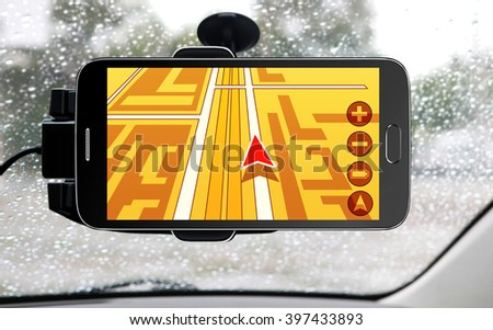 portable device for navigation of car - stock photo