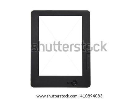 Portable digital e-book reader isolated on white background - stock photo