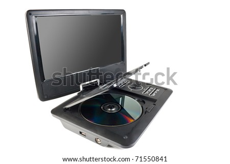 Portable dvd player isolated on white background - stock photo