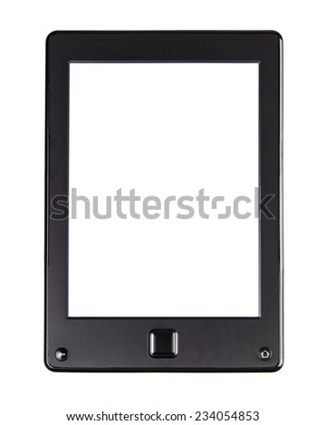 Portable e-book reader for book and screen. You may add your own text or picture. Electronic book with home button and blank space.Isolated on white - stock photo