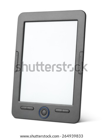 Portable e-book reader isolated on white background with clipping path - stock photo