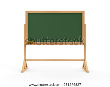 Portable Empty Green Chalkboard or School Blackboard with Piece of Chalk and a Sponge isolated on white background. Education Concept - stock photo