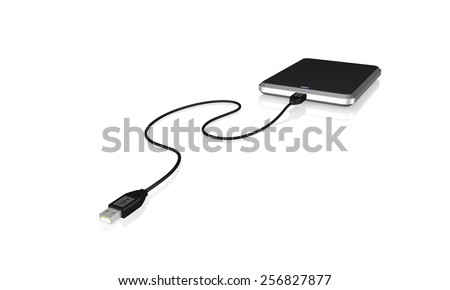 Portable external hard disk drive with USB cable on white background - stock photo