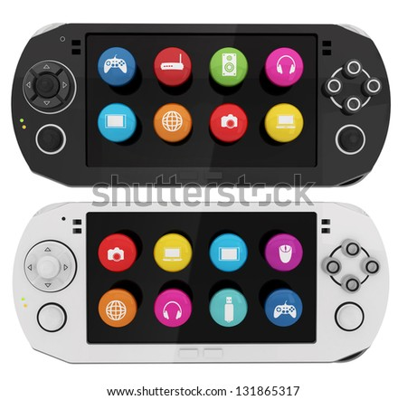 Portable game console, black and white variations - stock photo