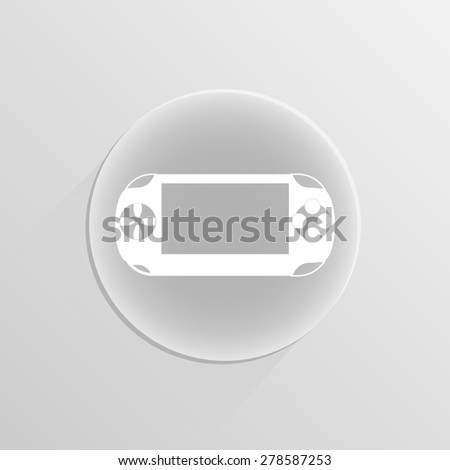 Portable game pad on a white button with shadow  - stock photo