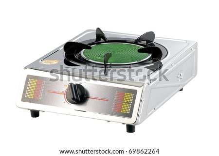 Portable gas stove for small kitchen isolated on white - stock photo