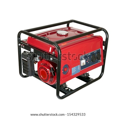 portable gasoline generator. isolated on a white background. - stock photo