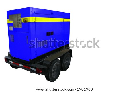Portable Generator Trailer.  All names removed from side and tire walls. Saturated in blue. - stock photo