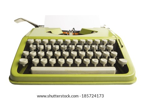 Portable green typewriter with sheet of paper isolated on white - stock photo
