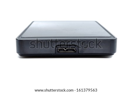 Portable hard disk with USB 3.0 port - stock photo