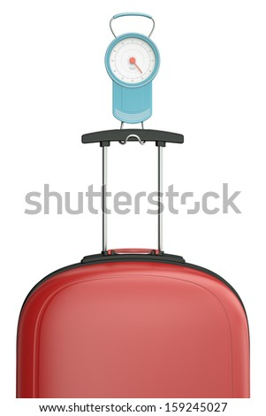 Portable luggage scales with red suitcase isolated on white background. 3D render. - stock photo