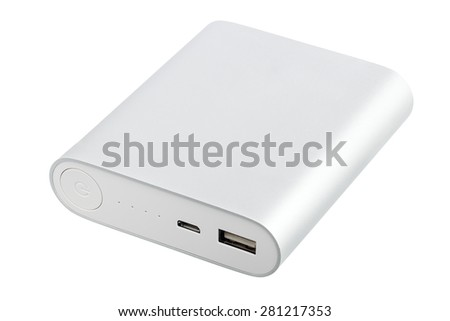 Portable power bank for charging mobile devices - stock photo