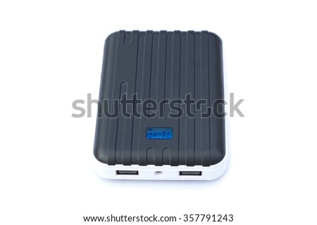 Portable power bank on white background, portable power bank for charging mobile devices. - stock photo