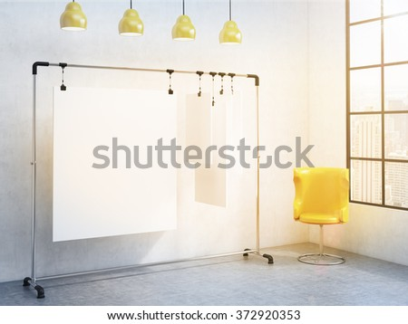 portable rack for paper in the corner of room, paper sheets clipped to it, window with a city view to right, yellow chair to the right, four yellow lamps above. Concept of demonstration. 3D rendering - stock photo
