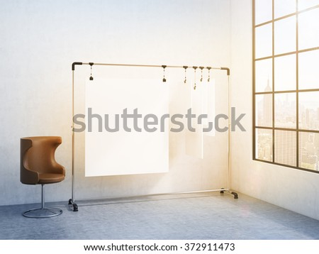 portable rack for paper in the corner of the room, paper sheets clipped to it, window with a city view to the right, brown chair to the left. Filter. Concept of demonstration. 3D rendering - stock photo