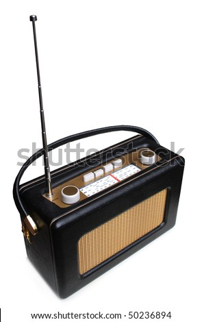 Portable retro radio - stock photo