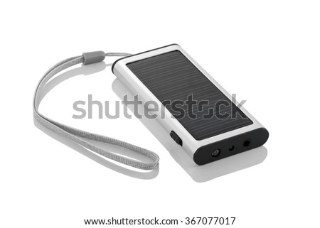 Portable solar charger for smart phone. Power bank isolated on white - stock photo