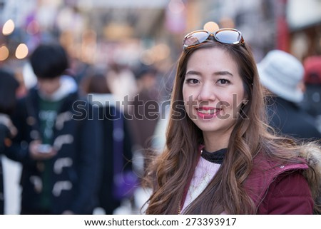 Portait of asia women at Senso-ji Temple,Japan - stock photo