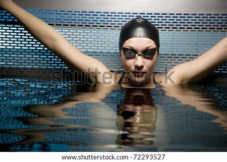 Portait of female swimmer - stock photo