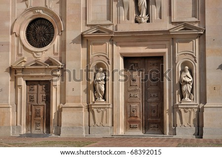 portal san giovanni church, parma - stock photo