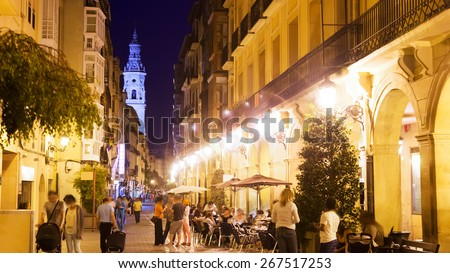 Portales street with restaurants in night. Logrono, Spain - stock photo