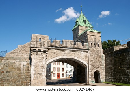 Porte Saint Louis is one of the city gates of Quebec City but it's not the one of the original fortifications. It dates back in 1878. - stock photo