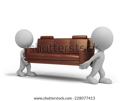 Porters carry the customer sofa. 3d image. White background. - stock photo