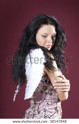 Portert og glamour model. Angel. - stock photo