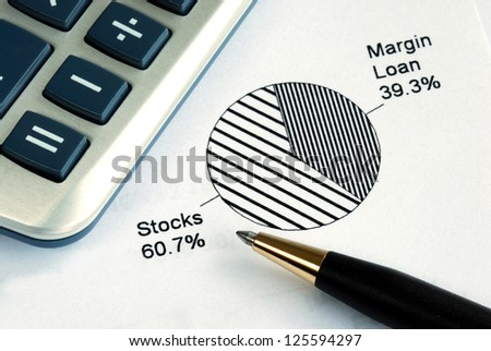 Portfolio allocation illustrates the asset in a pie chart - stock photo